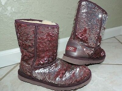 4698753bfab Womens UGG Classic short sparkle BOOTS sz 9 Reversible Sequins silver  burgundy