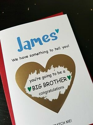 Pregnancy announcement card son you're going to be a brother reveal new baby