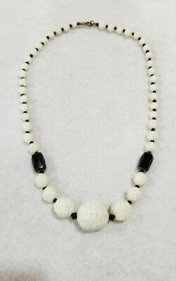 "Vintage 1940's Era Bead Necklace 18"" Ivory & Black Presses Glass"