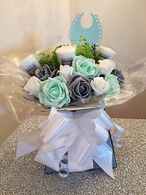 Handmade Yankee Candle Flower Bouquet Unisex Baby Mint Green And Grey Roses Gift