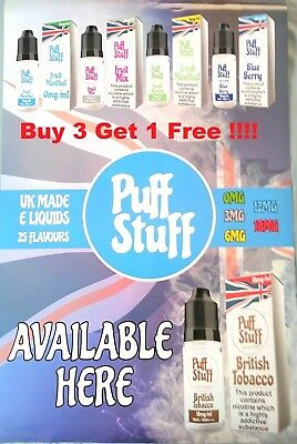 E LIQUID 10 ML VAPE JUICE BEST FLAVOURS PUFF STUFF [Buy 3 Get 1 Free!] E-Liquids