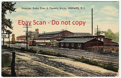 RARE Old Postcard -  American Brake Shoe Co Railroad Mahwah NJ 1909 - New Jersey