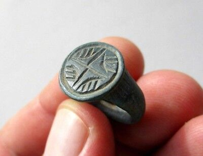 ancient late Roman/Byzantine bronze nicely carved with cross ring,date X century