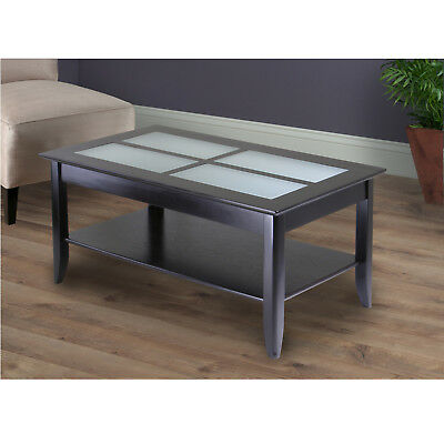 Winsome Wood Syrah Coffee Table Finish Living Room W/ Frosted Glass  Espresso New