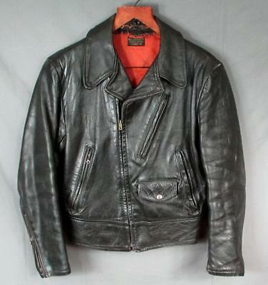 Vintage 1950s Black Leather Horsehide Motorcycle Riders Jacket Sz.36 Biker Nice