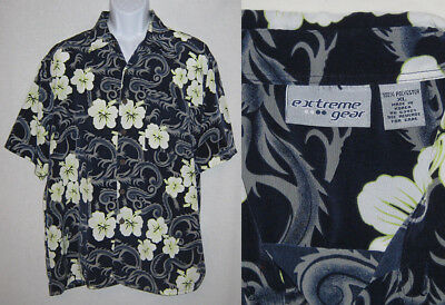 f2e798ff7 EXTREME GEAR size mens XL Aloha Hawaiian button SHIRT - black/blue w/  flowers