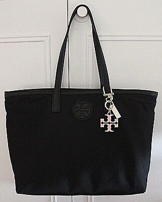df9babb11a NWT Authentic TORY BURCH Nylon East West Tote in Black w  Resin Logo Bag