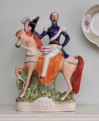 A Good c19th Antique Staffordshire Figure, Duke of Cambridge atop his Horse.