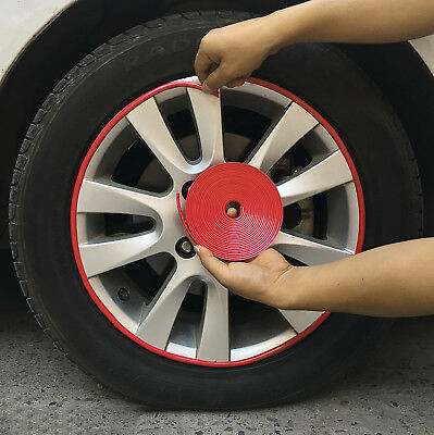 1Roll/8M Motorcycle Car Wheel Hub Tire Rims Protector Decor Sticker Red Strips