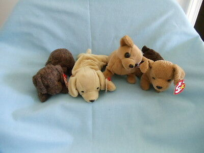 2c416ef0454 Lot 4 RETIRED NWT TY BEANIE BABIES PUPPIES Tuffy-Fetch-Tiny-Fetcher
