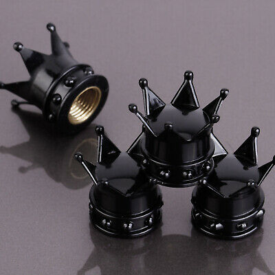 x4 Bike Car Motorbike Wheel Tyre Air Valve Dust Caps Covers Crown Black