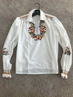 Vintage 70s Hungarian Hand Embroidered Peasant Top Blouse Final Drop