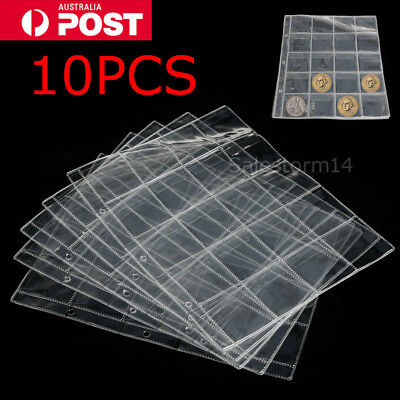 10x 20 Pockets Coin Holders Folder Pages Sheets For Collection Album Storage NEW