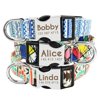 Nylon Dog Collar Personalized Metal Buckle Customized Engraved Pet ID Name S M L