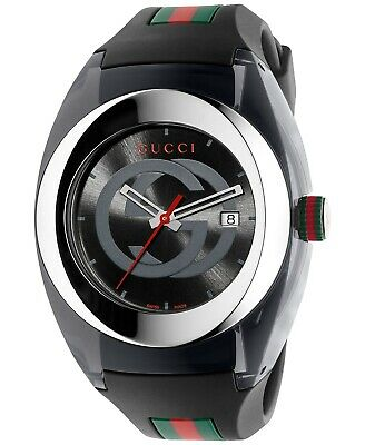 2d90388e766 New Gucci SYNC XXL (YA137101) Stainless Steel Watch with Black Rubber  Bracelet