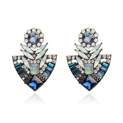 Vintage Gold Art Deco Blue White Crystal Stud Fashion Statement Earrings