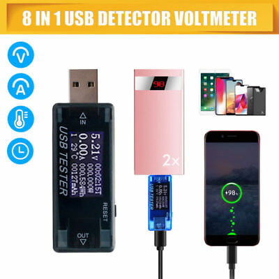8-in1 USB Detector Voltmeter Ammeter Power Capacity Tester Voltage Current Meter