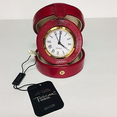 Travel Alarm Clock Red Leather Case~Battery Operated~Tuscan Designs