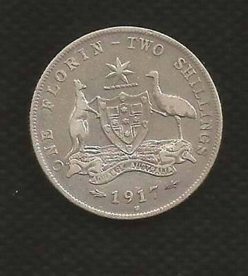 1917 Florin - George V - Centre Diamond - About Very Fine Condition