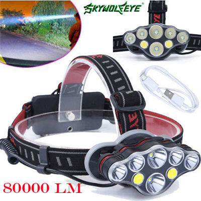 Headlight 80000LM 2X T6+2X COB+4X XPE 8XLED USB Headlamp 18650 Rechargeable Lamp