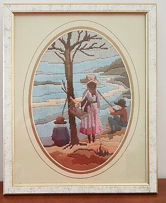 Retro CHILDREN FISHING IN A LAKE Framed COMPLETED Long Stitch Picture