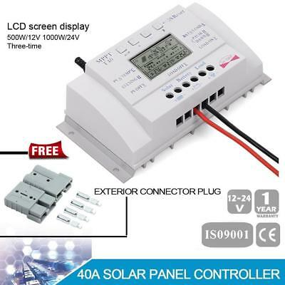 Solar Panel 40A 12V/24V MPPT/PWM Charging Controller + 1 Pair Exterior Plug GL