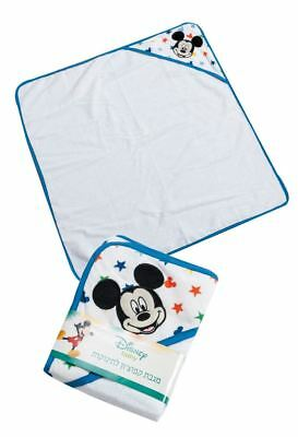 Disney Mickey Mouse Baby Boys Blue Stars Hooded Soft Bath Towel 76cm Square