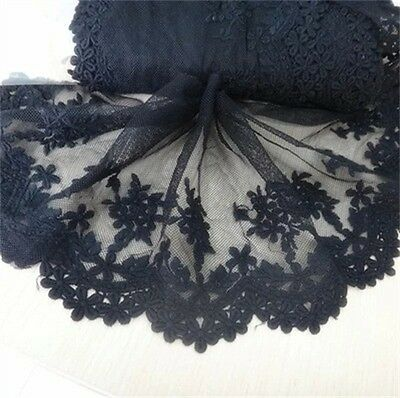 Black Lace Floral Embroidered Tulle Trim Wedding Dress Clothes Sewing Craft 1yd
