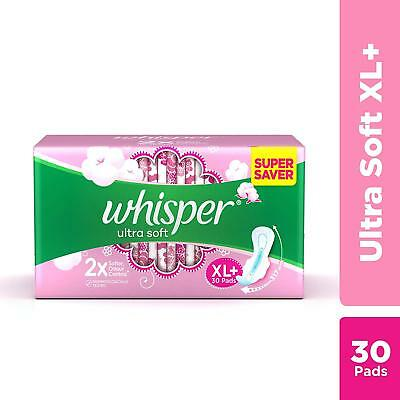 Sanitary Pads WHISPER Ultra Soft - 30 Pieces XL With 2 X Softer Odor Control GR