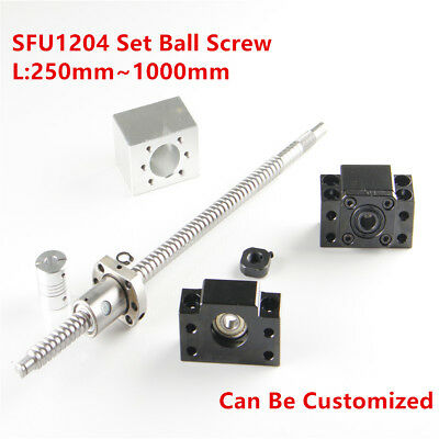Ballscrew SFU RM1204 L=250-1000mm w/ Nut Housing & BF/BK10 End Support & Coupler