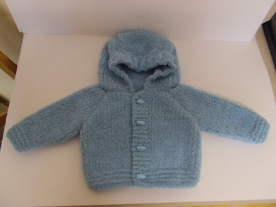 Hand Knitted Baby Jacket Hooded Cardigan Hoodie Blue 0-3 Months Baby Boy Soft