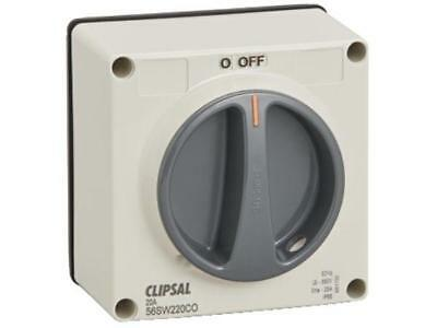Clipsal 56-SERIES CHANGE OVER SWITCH 2-Pole 20A 250V Less Enclosure, Grey