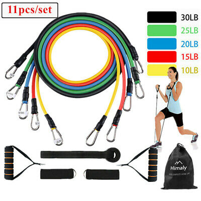 Fitness Resistance Bands Set, 5 Tubes With Handles, Door Anchor, Ankle Strap
