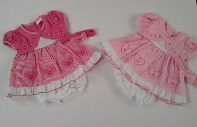 Baby girls clothes gingham heart dress pants headband set 0-3 3-6 6-9 months