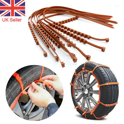 Car Anti-skid Snow Tyre Tire Chains Beef Tendon Wheel Nylon Chain Belt UK Seller