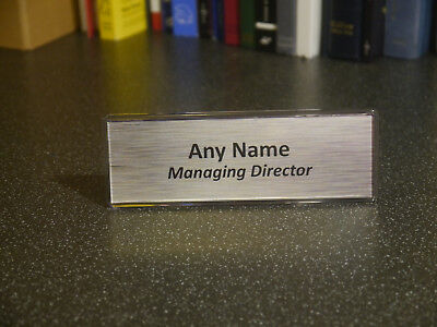 Acrylic Desk Name Plate Personalised plaque - Any name - Any position - Silver