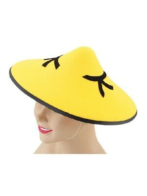 Adult Yellow Felt Oriental Chinese Coolie Hat Fancy Dress Asian Party
