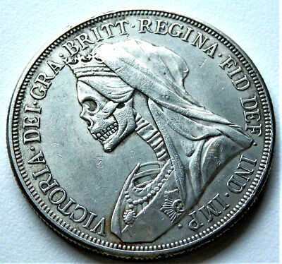 1893 Queen Victoria Hobo Skull Head Crown Coin Full Size Vf