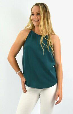 Ladies womens Top in Teale shoestring straps
