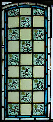 Antique Victorian Arched Painted Floral Stained Glass Window