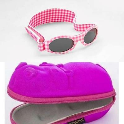 Baby Banz Adventure Pink Gingham Sunglasses with Free Sunglasses Case