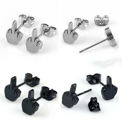 1 pair Womens Mens Stainless Steel Ear Studs Funny Middle Finger Up Earrings