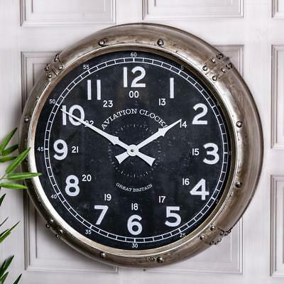 Large Aviation Wall Mounted Clock Metal Glass Antique Silver Rustic Vintage Home