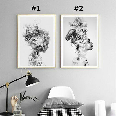 Modern Canvas Painting Print Home Abstract Black White Woman Wall Picture Decor