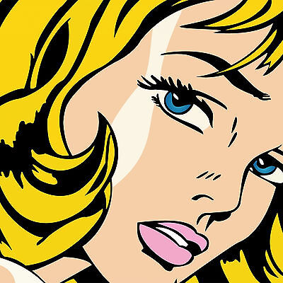 Quadro Stampa Tela Roy Lichtenstein Girl 60X60 70X70 80X80 90X90 Arredo Pop Art