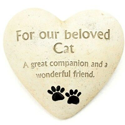 Cat Pet Garden Memorial Heart Stone In Colour Box Paws And Message