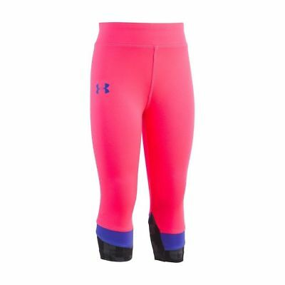 Under Armour Youth Girls Athletic Cropped Leggings Pants Size 4, 6 Pink