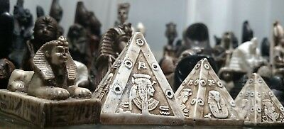 4 PCs,  3 Pyramids + Sphinx, Hieroglyphics Hand Carved  Natural Stone، USA ONLY