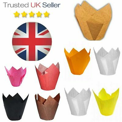 PREMIUM TULIP MUFFIN CASES CAKE WRAPS Greaseproof cup Baking Paper decorations