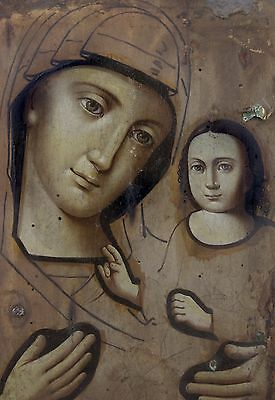 Antique Icon Mother of God Sovereign Orthodox Russian Empire Wood 195x253mm